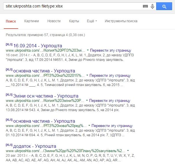 Рис.4. Проверка сайта на наличие *.xlsx файлов и индексе Google
