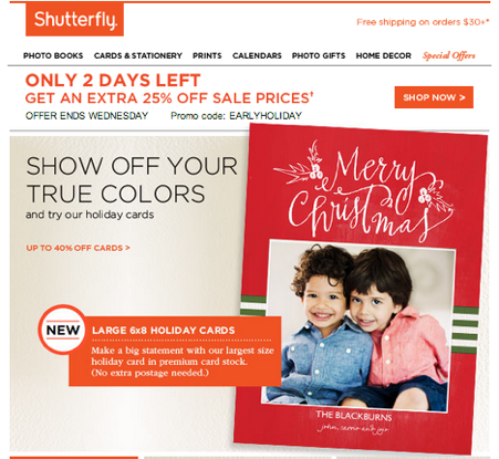 Shutterfly email 2